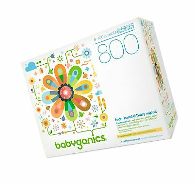 Babyganics Fragrance-Free Face Hand and Baby Wipes 100 ct (Pack of 8) Packagi...