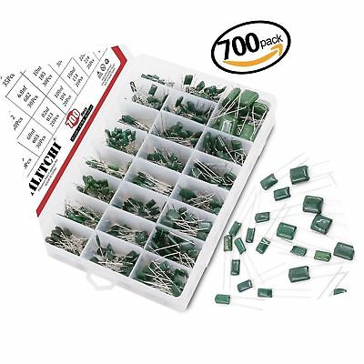 Hilitchi 700Pcs 24-Value Mylar Polyester Film Capacitor Assortment Kit - 0.22...