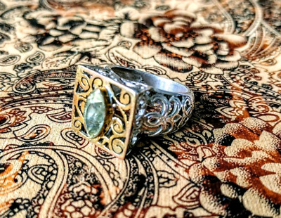 Art Deco Citrine Ring, Size 8 US, Sterling Silver, Two tone, NEW