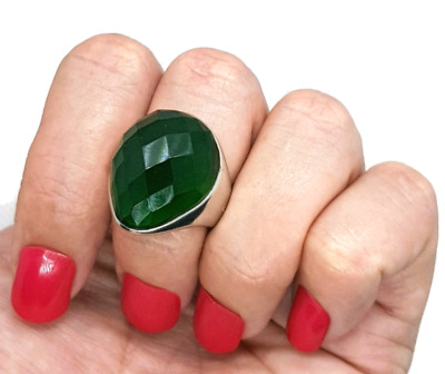 Emerald Ring, Simulated, Size 7 1/2 US, 925 Sterling Silver, NEW♡