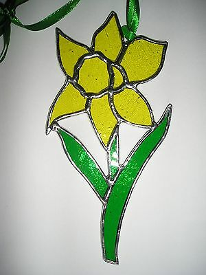 Stained Glass Daffodil, Birthday Flower March,Suncatcher Hand Made in England