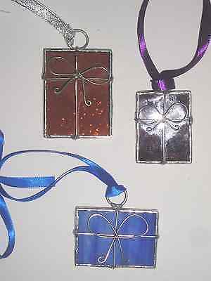 Set of 3 Stained Glass Christmas Gift Boxes, Suncatchers, Hand Made in England