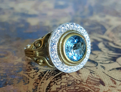 Blue Topaz Ring, Size Large, Gold & Silver, Filigree Antique