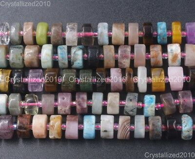 """Natural Mixed Gemstone Heishi Spacer Beads 8mm 10mm 12mm 16"""" Amethyst Turquoise"""