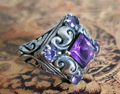 Antique Style Amethyst Ring, size 9 1/4 US, Silver Filigree, NEW