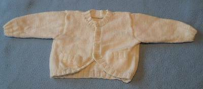 Gorgeous Hand Knitted Baby Cardigan, Size Premmie To 3 Months