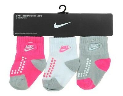 Nike Infant Baby Girls 3 Pair Pack Crawler Socks Pink/White/Grey 6-12 Months