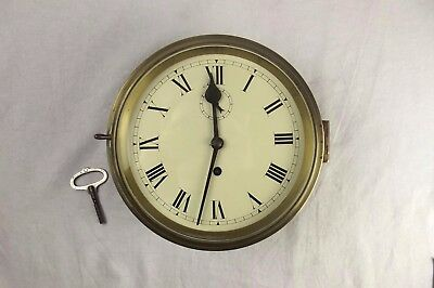 Early 20th Century Chain Fusee Naval Brass Bulkhead Wall Clock