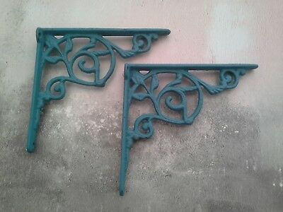 Iron Shelf Brackets Green Vintage Ornate Slight Seconds Sass & Belle