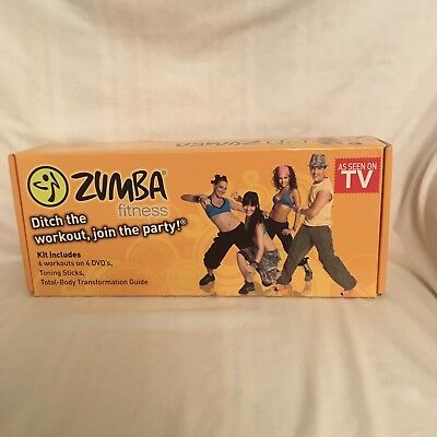 Zumba Fitness Exercise Kit 6 Workouts on 4 Discs & 2 Toning Sticks as Seen on TV
