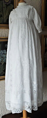 Antique Baby Christening Gown/lawn/heavy Embroidered Front