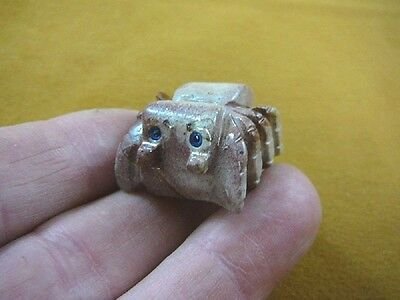 Y-SPI-16) little red gray TARANTULA spider gem stone carving SOAPSTONE spiders