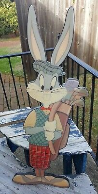 Looney Tunes Bugs Bunny Golfer Glazed Wood Plaque Gallery 92  Warner Bros