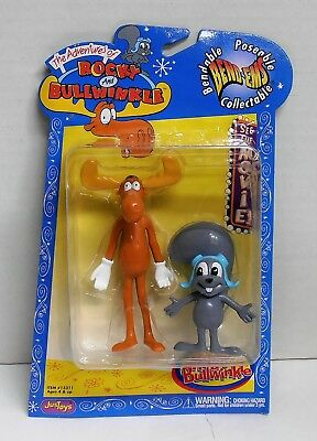 2000 Rocky and Bullwinkle Bend-Ems Poseable Figures Justoys NIP