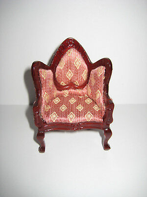 Dollhouse Miniature Padded Curved Back Side Arm Chair Diamond Pattern 1:12 Scale