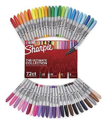 Sharpie Permanent Coloring Markers set pack of 72 Fine and Ultra-Fine Tips Lot
