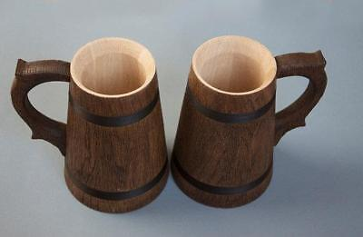 Wooden Beer Mug Set German Mugs Barrel Cup Tankard Oak Brown 23 OZ / 0.7 L Gift