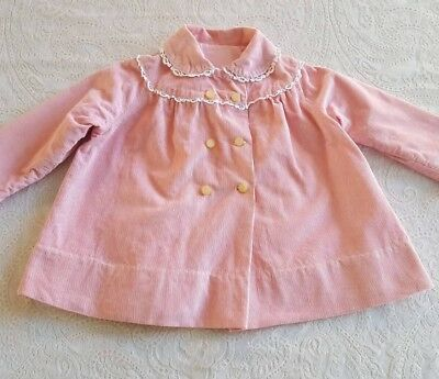Vintage Baby Toddler Girls Coat Jacket Pink Corduroy Dress Clothes