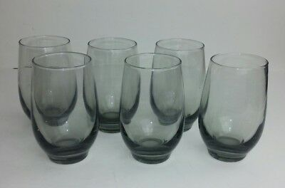 Libbey Smoke Gray Glasses Lot of 6 Vintage Barware Cocktail Swanky Mid-Century