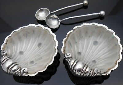 Pair Antique Mini Clam Shell Open Salts With Spoons & Liners - Silver Plated