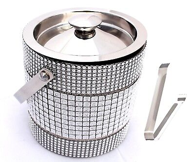 Double Wall Ice Bucket with Ice Tong Metal Beaded Stainless Steel Handcrafted