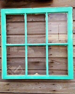 Vintage Sash Antique Wood Window Frame Pinterest Rustic Country Teal Seaglass