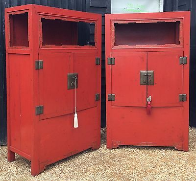 Fantastic Chinese Red Lacquered Marriage Cabinet *Two Available*