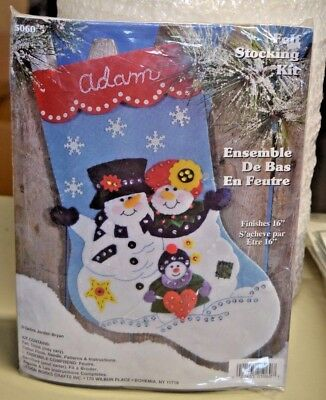"Design Works Crafts 5060 Felt Stocking Kit Snowman Family 16"" New! Made In Usa"