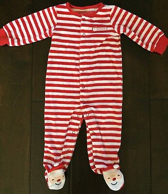 Carter's baby boy girl velour footed sleeper outfit Christmas Santa 9 months