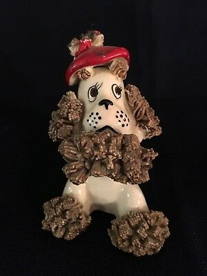 Vintage Lenox ceramic poodle figuring wearing a red hat with a bug on his nose
