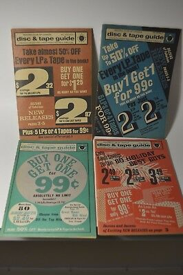 Lot of 4 Record Club of Canada Disc & Tape Guide Mail Order Catalogs 1970s