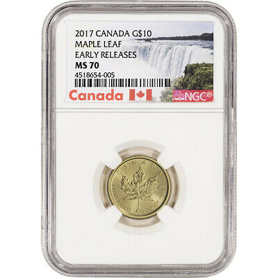 2017 Canada Gold Maple Leaf 1/4 oz $10 - NGC MS70 Early Releases NF Label