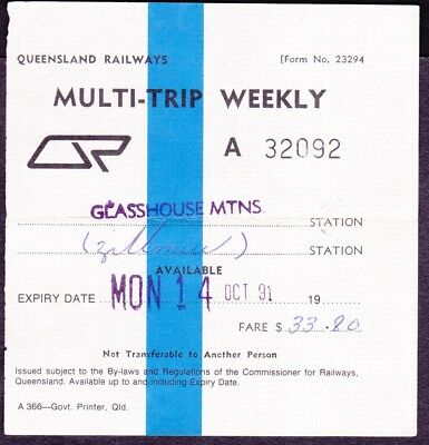 *QLD.RAILWAY TICKETS.MULTI-TRIP WEEKLY.GLASSHOUSE MTNS to ZILLMERE.1991.*