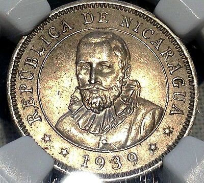 1939 Nicaragua 20 Centavos NGC MS64 Nice Price Reduced CHN!