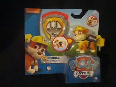 PAW PATROL - RUBBLE Action Pack Pup & Badge BRAND NEW IN PACKET AUTHENTIC -