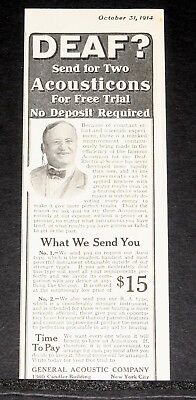 1914 Old Magazine Print Ad, Deaf? Send For Two Acousticons, Marked Improvement!
