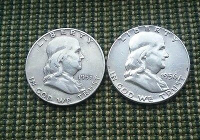 US Franklin Half Dollars 1953D & 1956P 90% silver