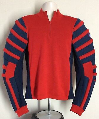 Vtg 80s CB Sports 100% Wool Padded Ski Sweater Red Blue S