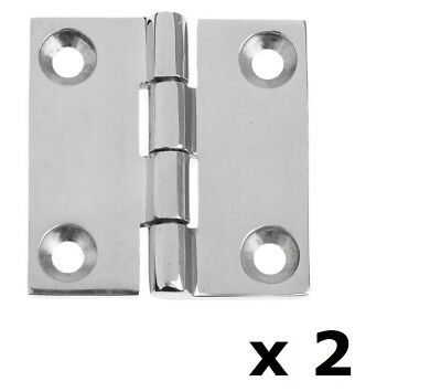 2 x Butt Door Hinge 50mm 316 Marine Grade Stainless Steel Polished DIY Caravan
