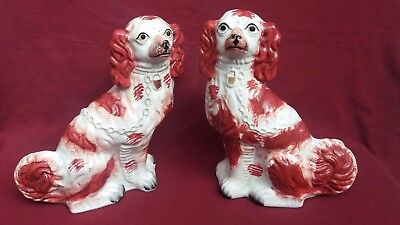 Beautiful 19th Century PAIR of Staffordshire King Charles Spaniels Figures.