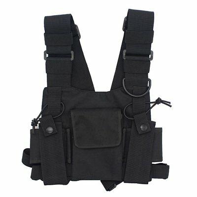 GoodQbuy Universal radio harness chest Rig Bag Pocket Pack Holster Vest for Two
