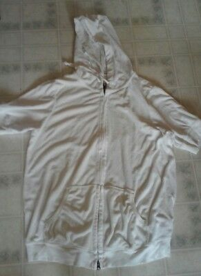 Old Navy Maternity Zip Front Hooded Sweatshirt XL White Terry Cloth Short Sleeve