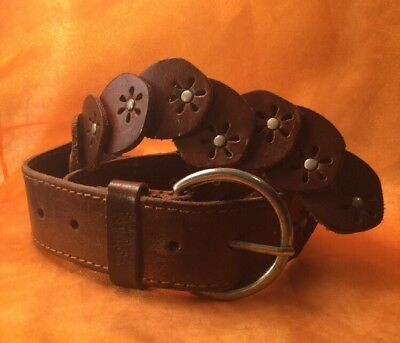 Retro Boho Western Tan Leather Tooled Cut Floral Disc Silver Buckle Belt
