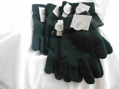 Lot of 6 Black Touch Screen Knit Gloves Texting Finger Unisex Soft Warm One Size