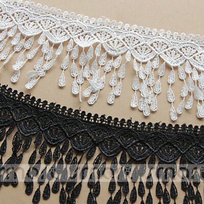 2 Yards White Black Crochet Polyester Fringe Lace Trim Embroidery Ribbon Sewing