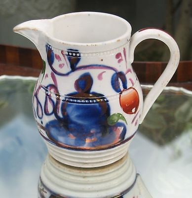 Gaudy Welsh Antique English Pottery  A barrel Gaudy Welsh Jug C.19thC