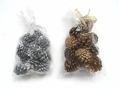 Pack Of 12 Christmas Pine Cones For Decoration Or Craft In Silver Or Gold