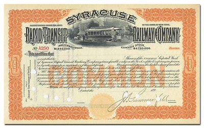 Syracuse Rapid Transit Railway Company Stock Certificate