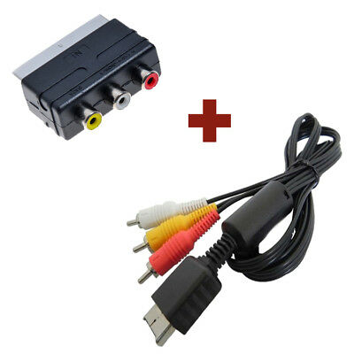 AV TV Cable + scartadapter Set for Sony PlayStation PS1 PS2 PS3 RCA RCA SCART
