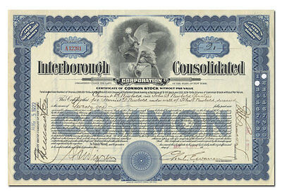 Interborough Consolidated Corporation Stock Certificate (New York Subways)